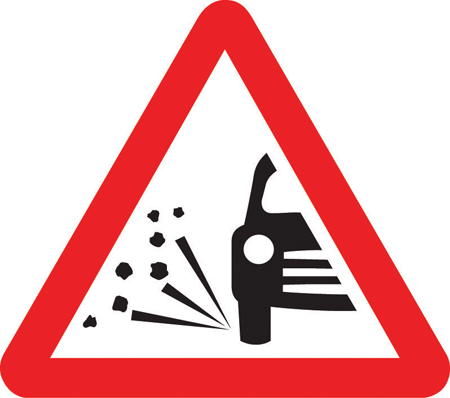 Loose chippings sign