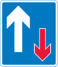 Priority over oncoming vehicles sign
