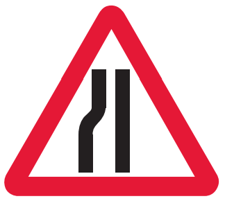 Road narrows on left-hand side ahead