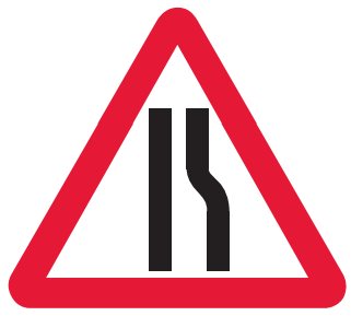 Road narrows on right-hand side ahead